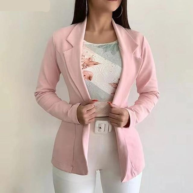 Ladies blazer solid color suit collar long sleeve women's top new casual outerwear Autumn Winter office suit blazer