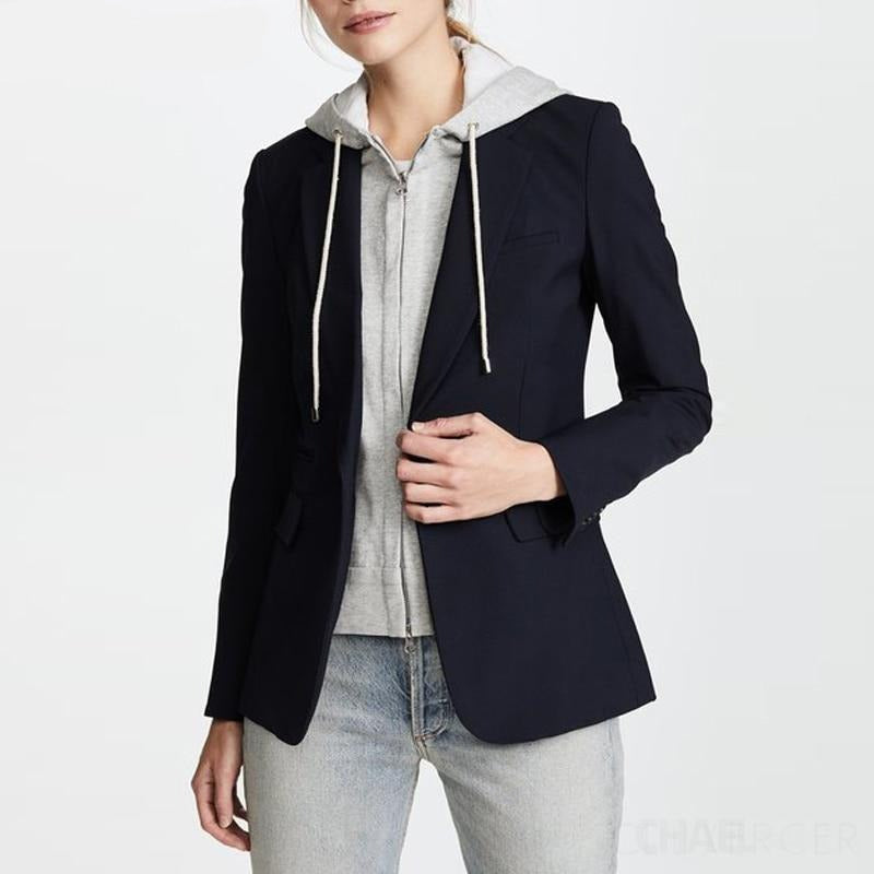 New Designer Blazer Jacket Women's Zip Removable Hooded Double Breasted Black Red Casual Blazer
