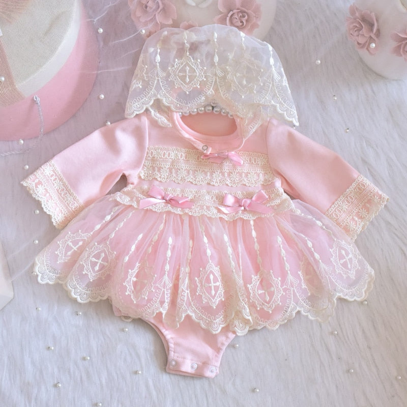 Newborn Princess Girls Tutu Bodysuits Dress Baby Girls Lace Bodysuit Tutu Dress Outfit Baby Clothes for Baptism with hat 0-24M