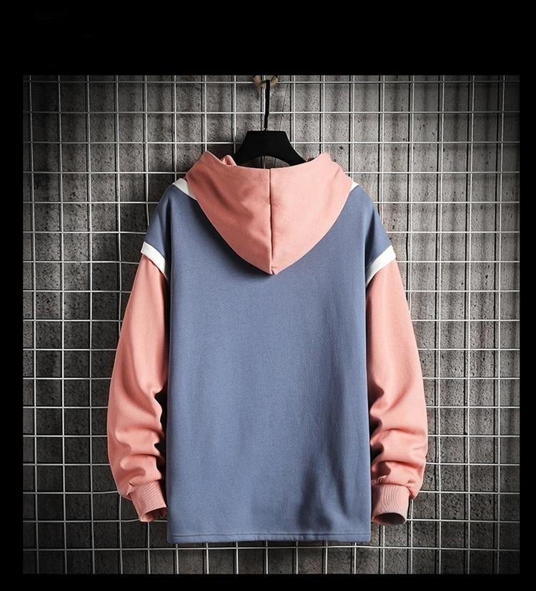 Autumn Winter Two Fake Hoodies Men Fashion Contrast Color Raglan Sleeves Jogger Sweatshirts Washed Plus Size Tops