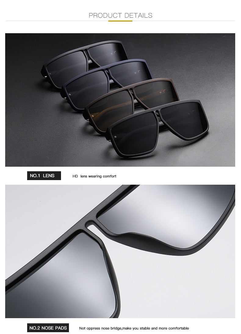 Polarized Plastic Titanium Sunglasses For Men Irregular Frame Glasses UV400 Driving Sunglasses