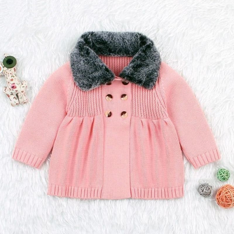 Coat Winter Girl Clothing For Babies Cotton Knitting Fur Turn-down Collar Knitted Sweater Cardigan Kids Jackets For Girl
