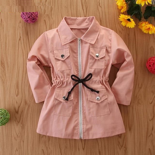 Girls Autumn Windbreaker Outerwear Spring Children Clothing Long Sleeve Mid-Length Zipper Jacket Kids  Children