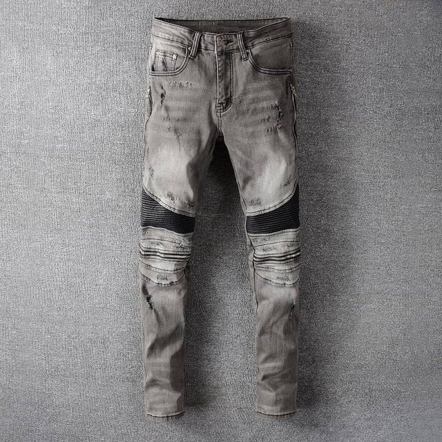American Streetwear Men Jeans High Quality Retro Gray Slim Fit Ripped Jeans Men Biker Pants Spliced Designer Hip Hop Jeans Homme