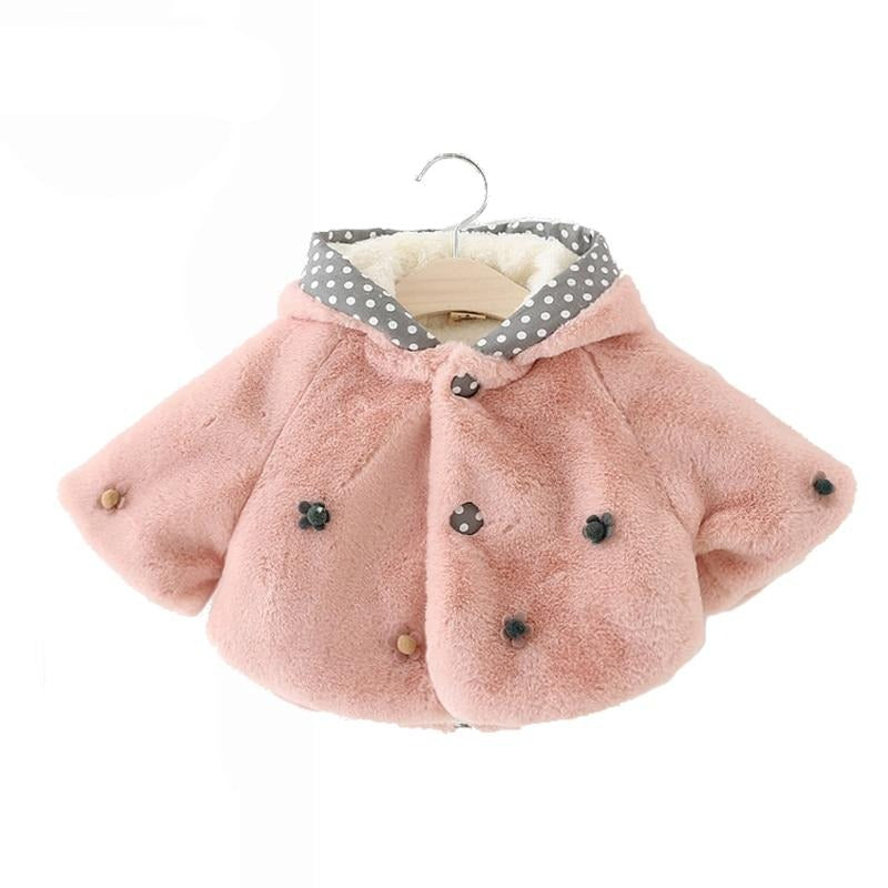 65-100cm Flower Baby Winter Jacket And Coat Cute Rabbit Flannel  Baby Clothing Newborn Snowsuit Infant Outerwear