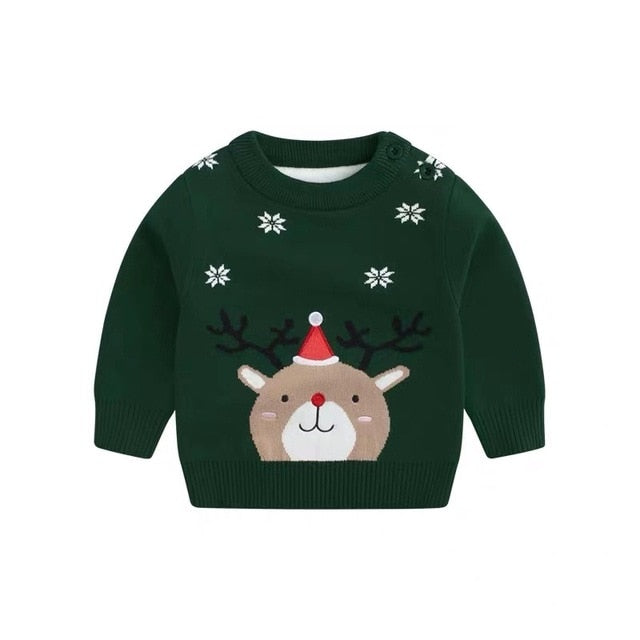Christmas Style Clothes Cute Sweater Boys & Girls Long Sleeve O-neck Cartoon Pattern Sweater Fashion Baby Jacket New Year's Gift