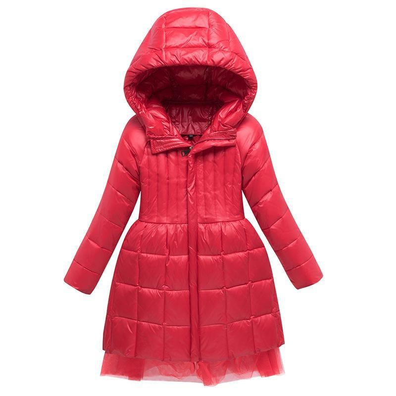 Kids Down Coat Baby Girl Snowsuit With Hooded Winter Duck Down Coat For Girls Long Style Lace Wind Proof Warm Thickened Clothes