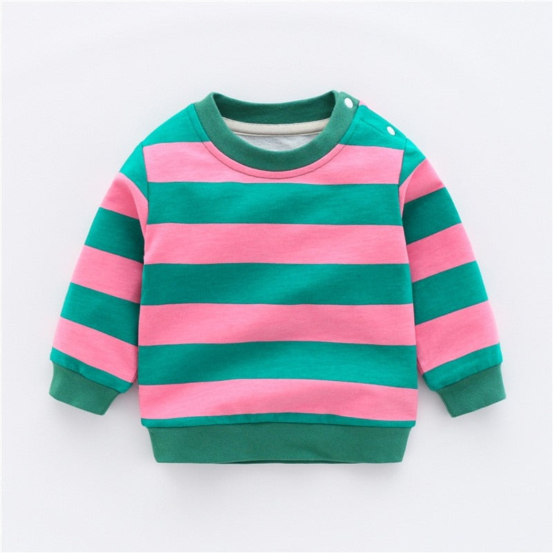Baby Boys Sweatshirt Baby Boy Clothes Winter Sweatshirt Girls Long Striped O-neck Casual Toddler Boy Clothes New Arrival