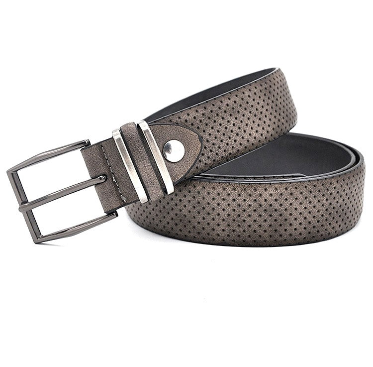 Men's Casual Fashionable Jean Waistband Belt With Gun Metal Buckle Dot Style Split Leather Casual Man Dress Belt Dark Grey Color