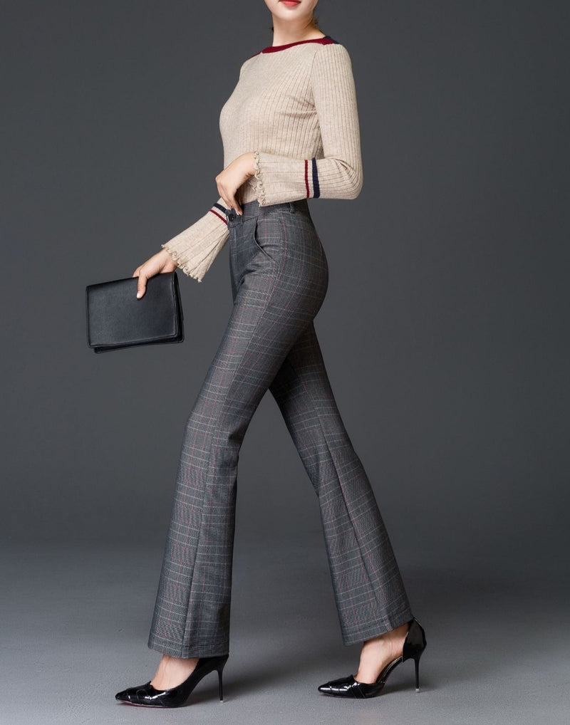 Plaid High Waist Vintage Trousers Women New Skinny  Pockets Pantalones Verano Bell Bottom Pants
