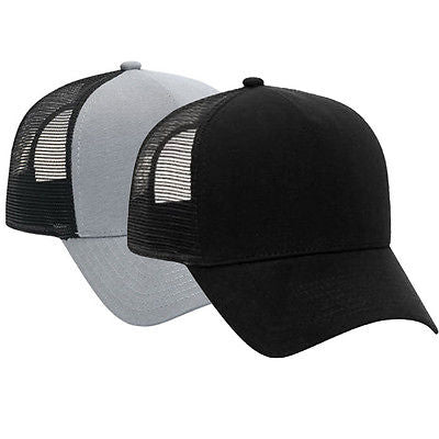 Cotton Flannel Trucker Hat with Adjustable Mesh Back SOLID BLACK Baseball Caps Hats
