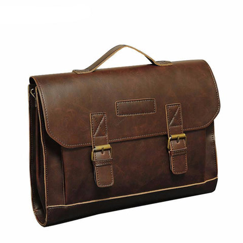 Famous Brand Casual Men Briefcase Crazy Horse Leather Men's Messenger Bag Male Laptop Bag Men Business Travel Bag
