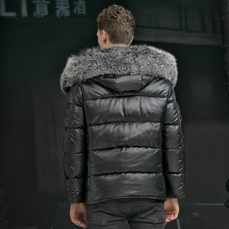 High-quality Top Cow Leather 95% White Duck Down Jacket Genuine Leather Men Down Coat Real Fox Fur Collar Mens Short Winter Coat
