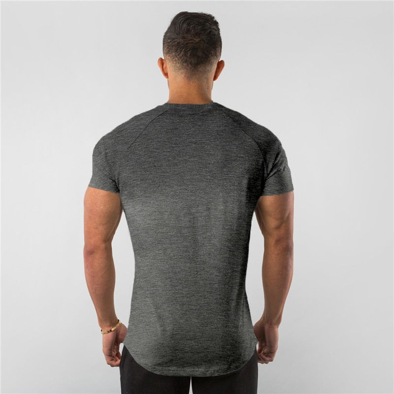 Compression Quick dry T-shirt Men Running Sport Skinny Short Tee Shirt Male Fitness Bodybuilding Workout White Tops Gym Clothing