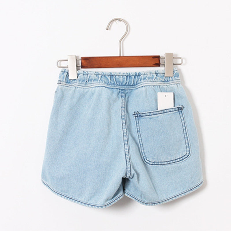 Short Jeans Women Style Casual Blue Mid Elastic Waist Loose Short Denim Shorts Ladies Denim Jeans Plus Size Feminine