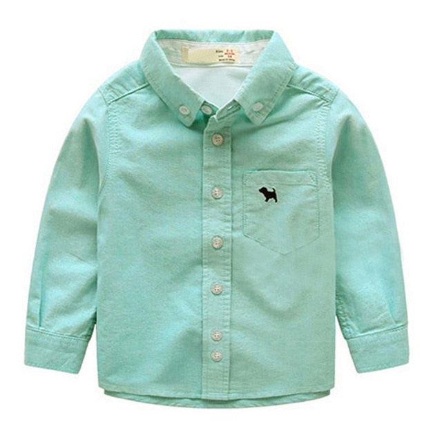 Kids Boys Shirts Long Sleeve Solid Toddler Shirts For Boys Autumn Cotton School Boy Tops Children Clothes 2-11Y