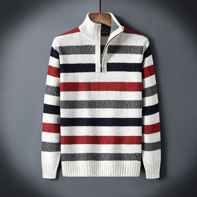 Winter Turtleneck Pullovers Men Knitwear Casual Striped Zipper Turtle Neck Mens  Sweaters Knitted Male Sweaters