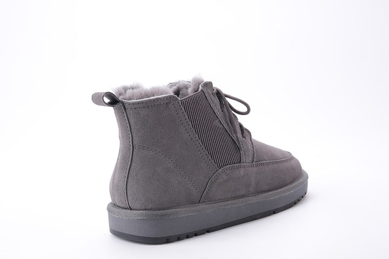 New Men Winter Boots Sheep Fur Lined Cow Suede Leather Man Winter Shoes Flats Non-slip Black Grey Snow Boots