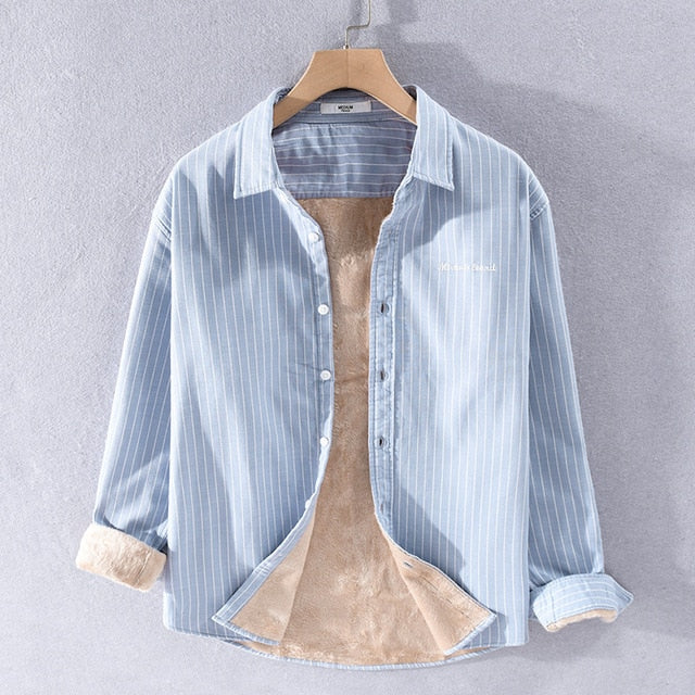 Men Winter Style High Quality Fleece Thick Striped Shirt Business Men Casual Slim Fit Letter Embroidery Simple Tops