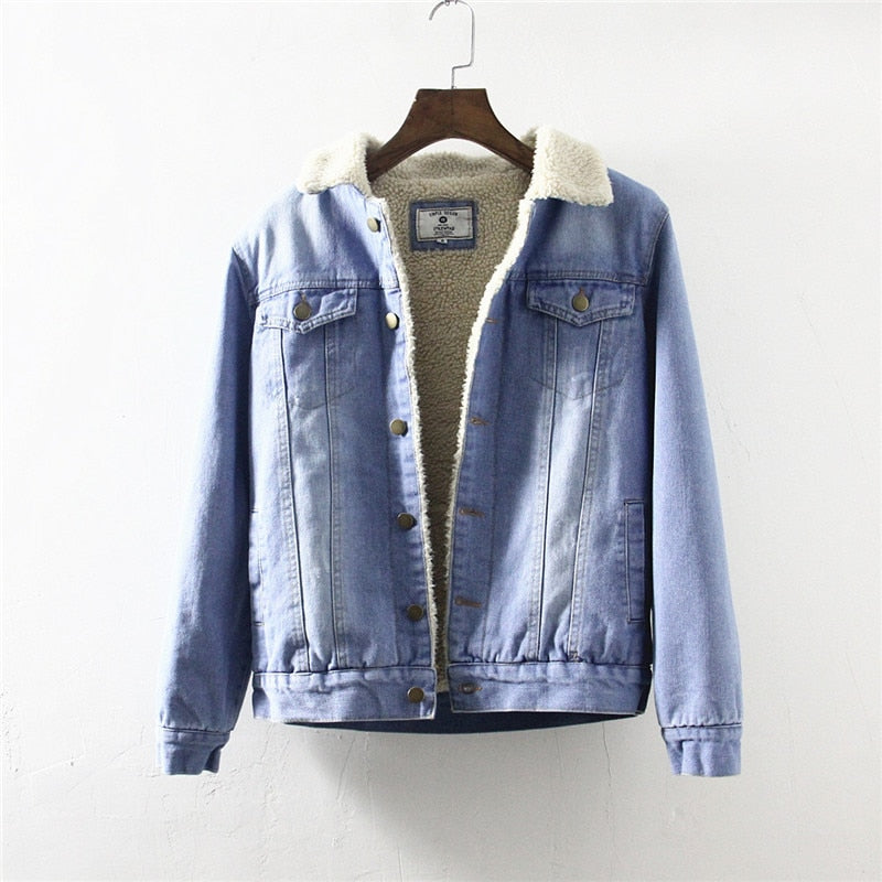 High Quality Casual Denim Jacket With Fur Vintage Cowboy Style Autumn Warm Fleece Jacket Jeans Men Brand Clothing Men's Coat