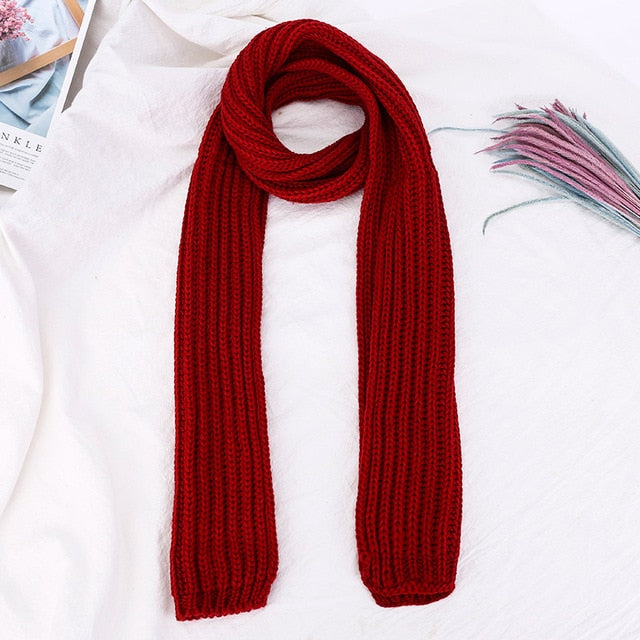 Knitted Women's Scarves Style Casual Solid Black Red Green Blue Winter Autumn Scarf Female Foulard Femme