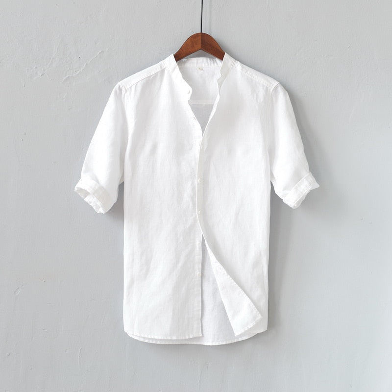 Summer new brand linen shirts men cotton and linen mens shirt solid slim casual shirt male 5XL big business shirts men chemise