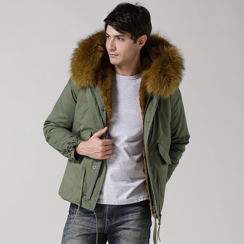 Free Shipping Mens Short Style Yellow Green Jacket Winter Warm Faux fur jacket  Real