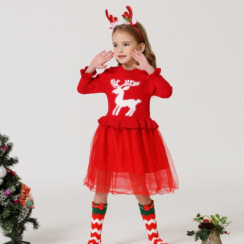 Knitted Sweater christmas Dress Girls Long sleeve winter dress for girls thick Winter dress princess kid Party Dresses for girls