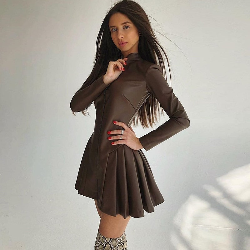 Long Sleeve Leather Pleated Zipper Mini Dress Winter Women A-Line Party Ruched Outfits