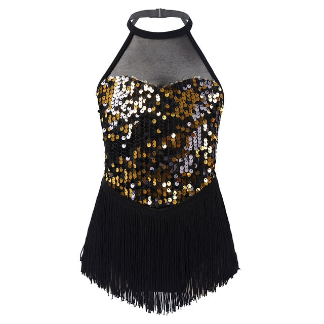 Kids Girls Gymnastics Leotards Child Sparkly Sequins Dancewear Figure Ice Skating Roller Skating Latin Dance Performance Leotard