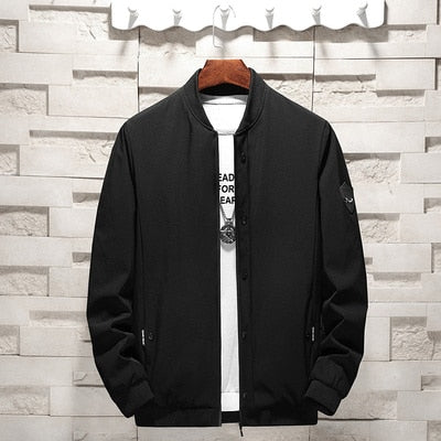 New Spring Men's Jacket Solid Zipper Slim Fitted Casual Coat Male Stand Collar Khaki Black Green Bomber Jacket Men Sale