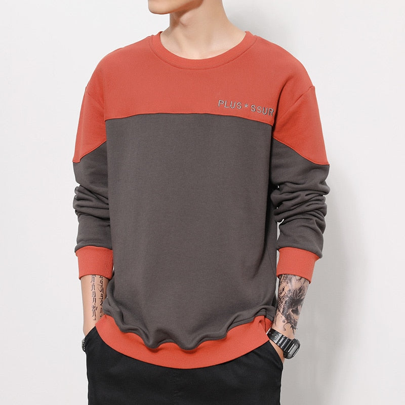 Autumn New Sweatshirts Me Spliced Contrast Color Hoodies Letter Embroidery Raglan Sleeves Casual Jogger Tops Man