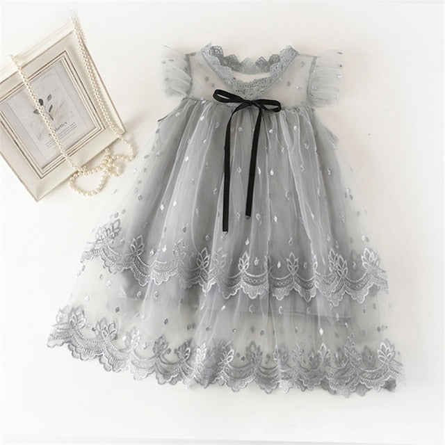 Lace Girls Party Dress for Kids Princess Wedding Dress Kids Ceremony Voile Mesh Dresses Flower 3-8Y Summer Children Clothing