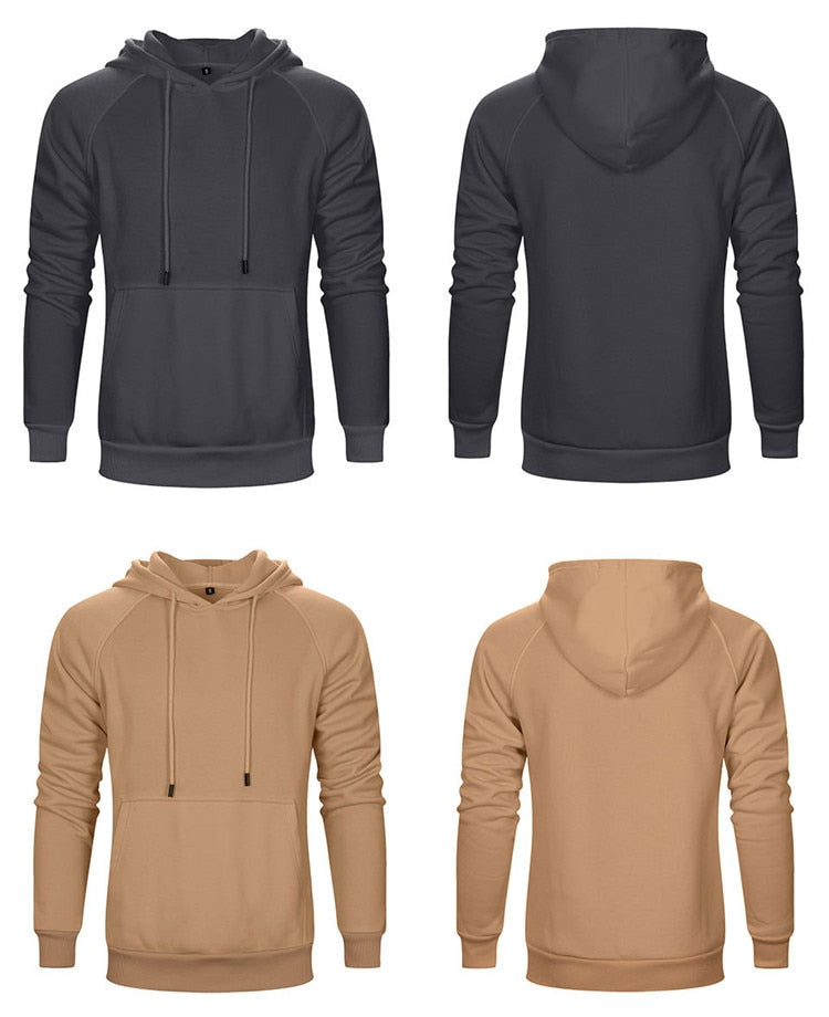 Hoodies Male Large Size Warm Fleece Coat Spring Autumn Men Brand Solid Basic Hoodies Sweatshirts Men