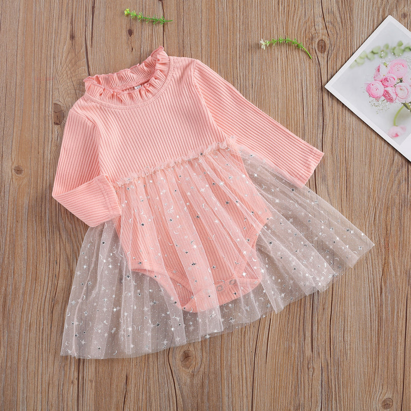 Newborn Baby Girl's Princess Romper Dress Long-sleeved Solid Color Sequined Star Lace Patchwork Jumpsuits 0-24M