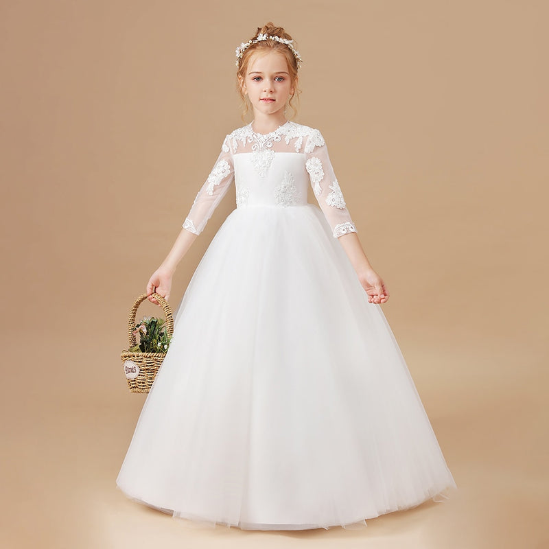 2-14T Girls Appliques Dress White Wedding Children Clothing Princess Wedding Dresses Baby Kids Birthday Party Clothes