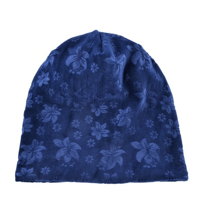 Winter Women's Beanie Hat Flower Velvet Ladies Skull Beanies Cap Women Knitted Beanies Bonnet Female Keep Warm Hat