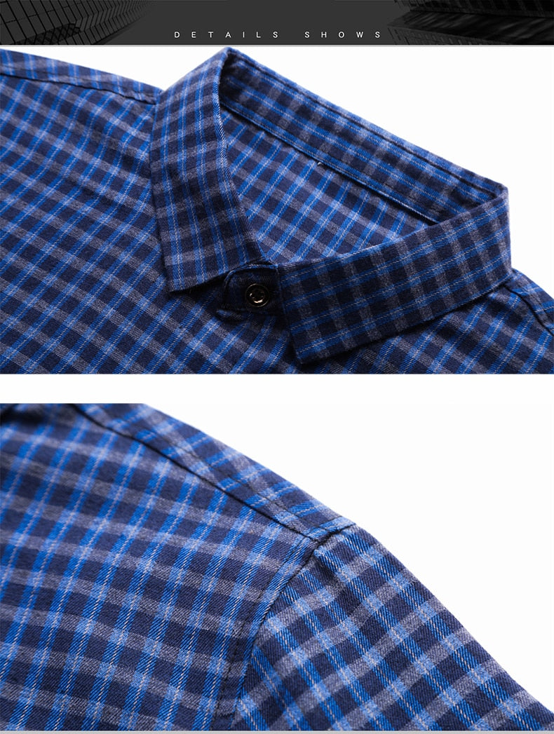Casual Men Shirts Plaid Slim Fit Long Sleeve Social Men Clothes