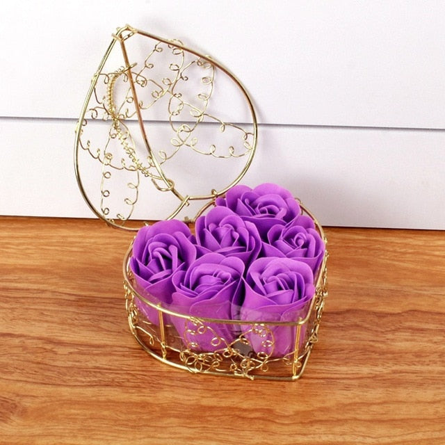 Romantic Valentine's Day Gift Heart Shape Iron Basket With 6 Soap Flower Roses Scented Soap Flower Gift Box Best Gifts Hot