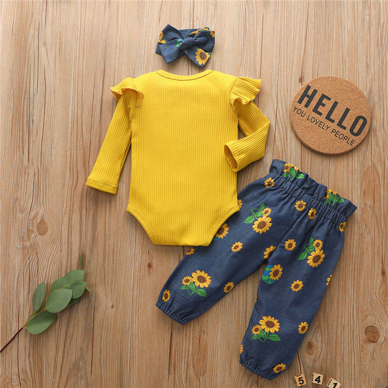Newborn Baby Girl Romper Tops Solid Ribbed Ruffle Jumpsuit Sunflower Pants Headband Clothes Summer 3Pcs Outfits Set
