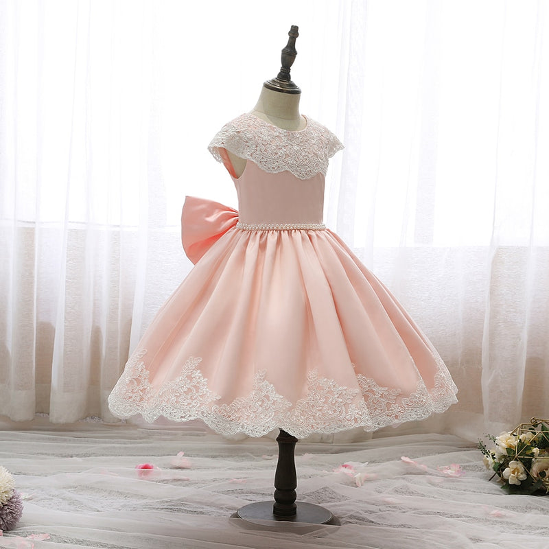 Baby Girl Dress Retro Embroidery Elegant Lace Jacquard Wedding Princess Girl Birthday Party Dress For Girl Baby Girls Clothes
