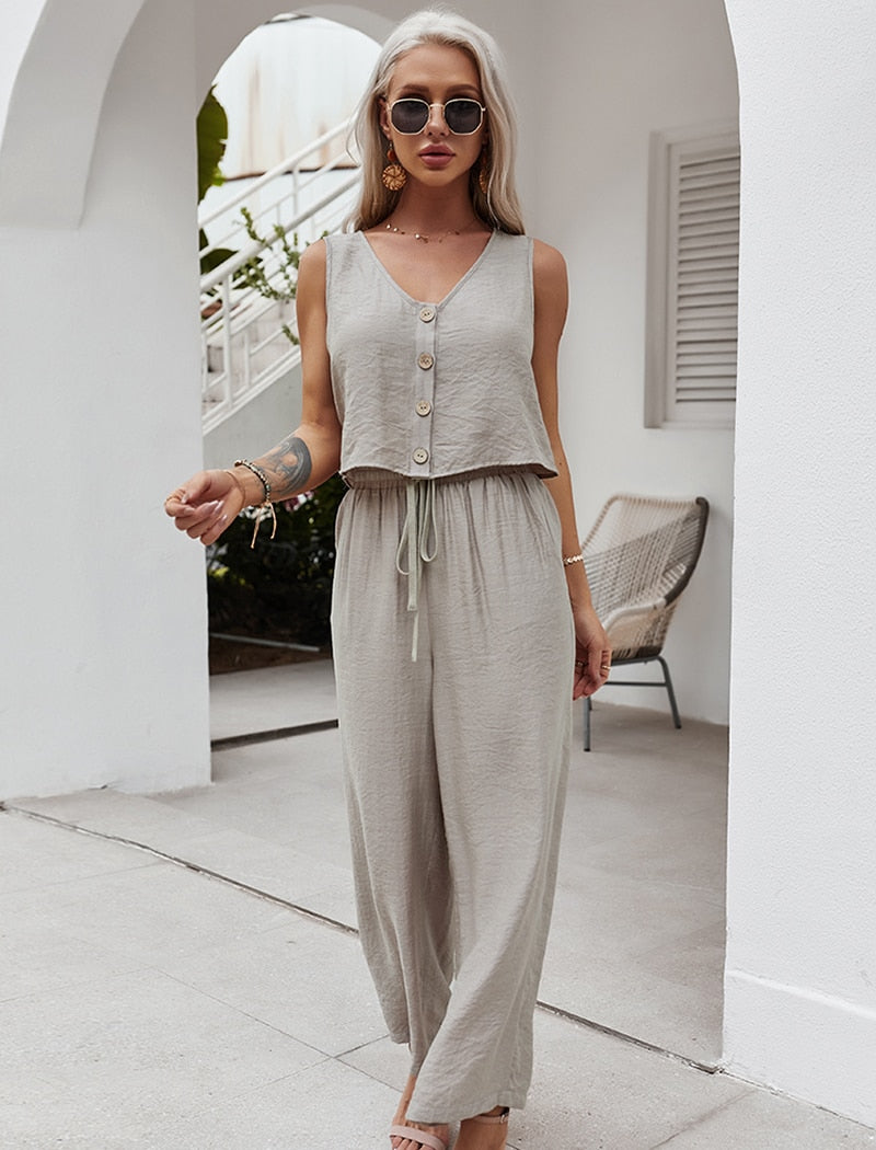 Summer Women Casual Two Piece Set Solid Color V Neck Tank Crop Top Sets High Waist Wide Leg Pants Holiday Outfits