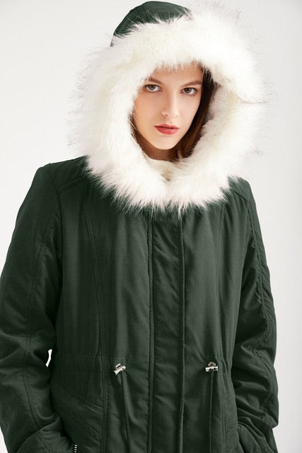 Fur Hooded Jackets Women Winter Thick Warm Parkas Loose Plus Size Casual Women Jacket Streetwear Basic Coat Outwear