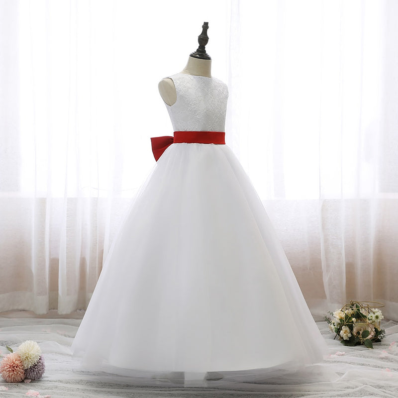 Dresses Sleeveless Backless Evening Dress Children Princess Style Flower Wedding Party Elegant Girl Dresses