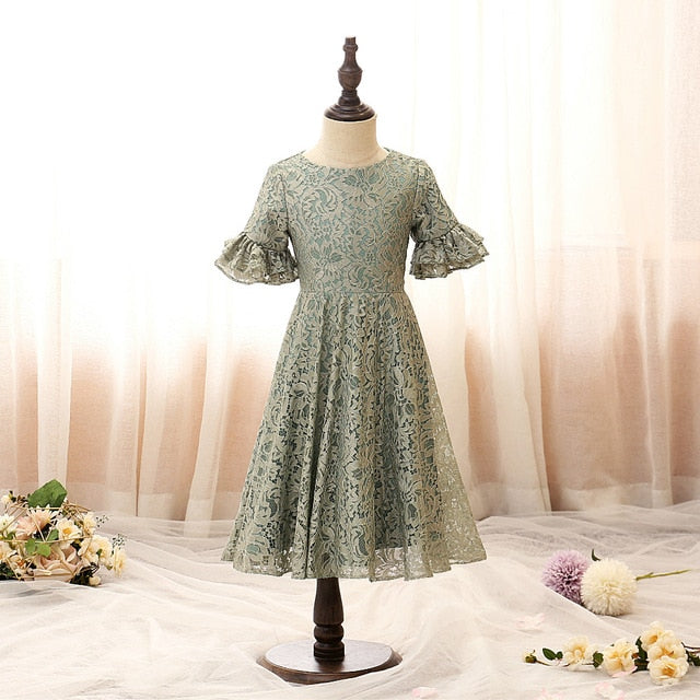 Ever Pretty Elegant Gray O-Neck Tulle Lace Embroidered Dresses Hot Selling Petal Sleeve Kids Prom Dresses