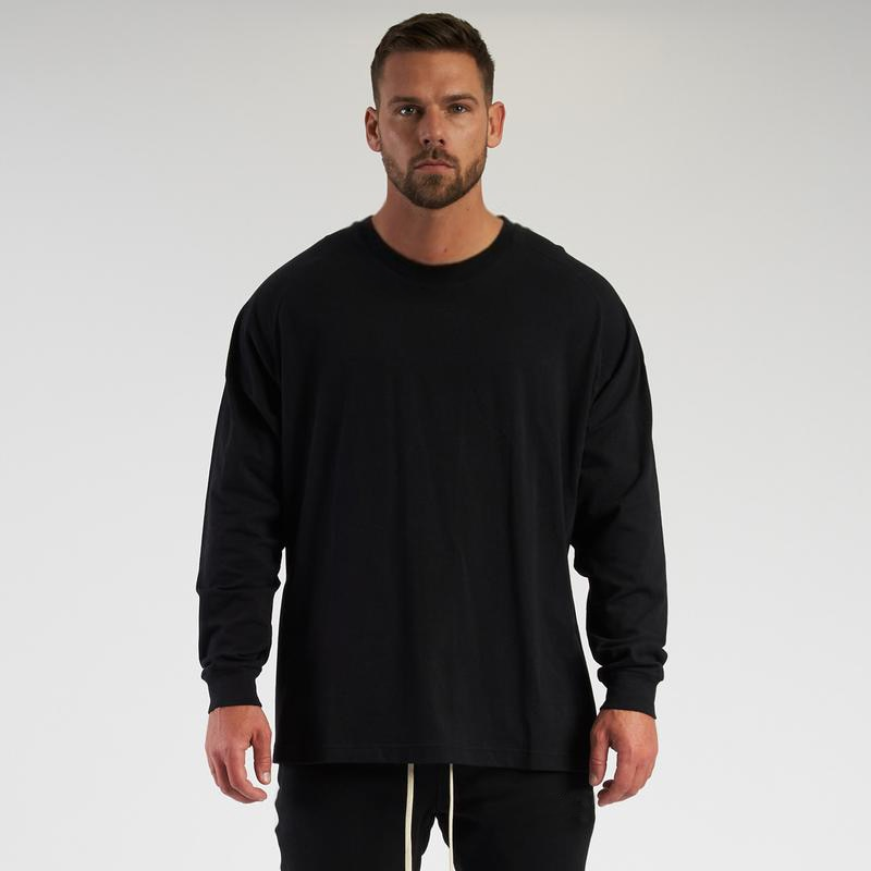 Oversized Loose Long Sleeve T Shirt Mens Fashion Streetwear Fitness lifestyle T-shirt Spring Brand Gym Clothing Workout Tshirt