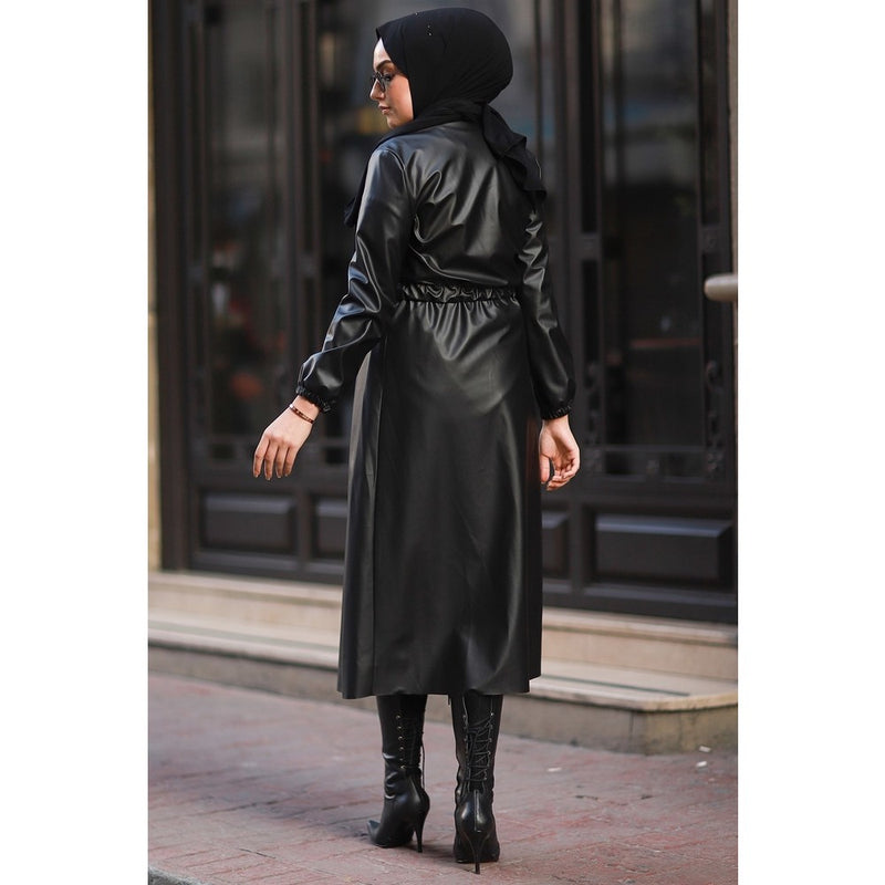 Waist Side Gathered Faux Leather Trench Coat Autumn Long Leather Belt For Women Long Sleeve Skirted
