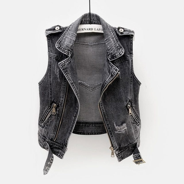 Denim Vest Female Spring Autumn Sleeveless Wild Tops Short Jacket Women Plus Size 5XL Smoky Gray Jean Waistcoat