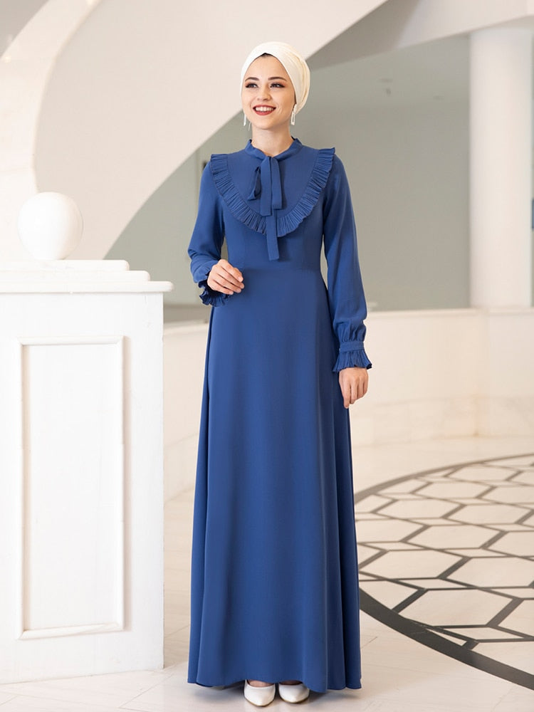 Long Women Dress With Bow Collar Clothing High Quality Fabric Made in New Season