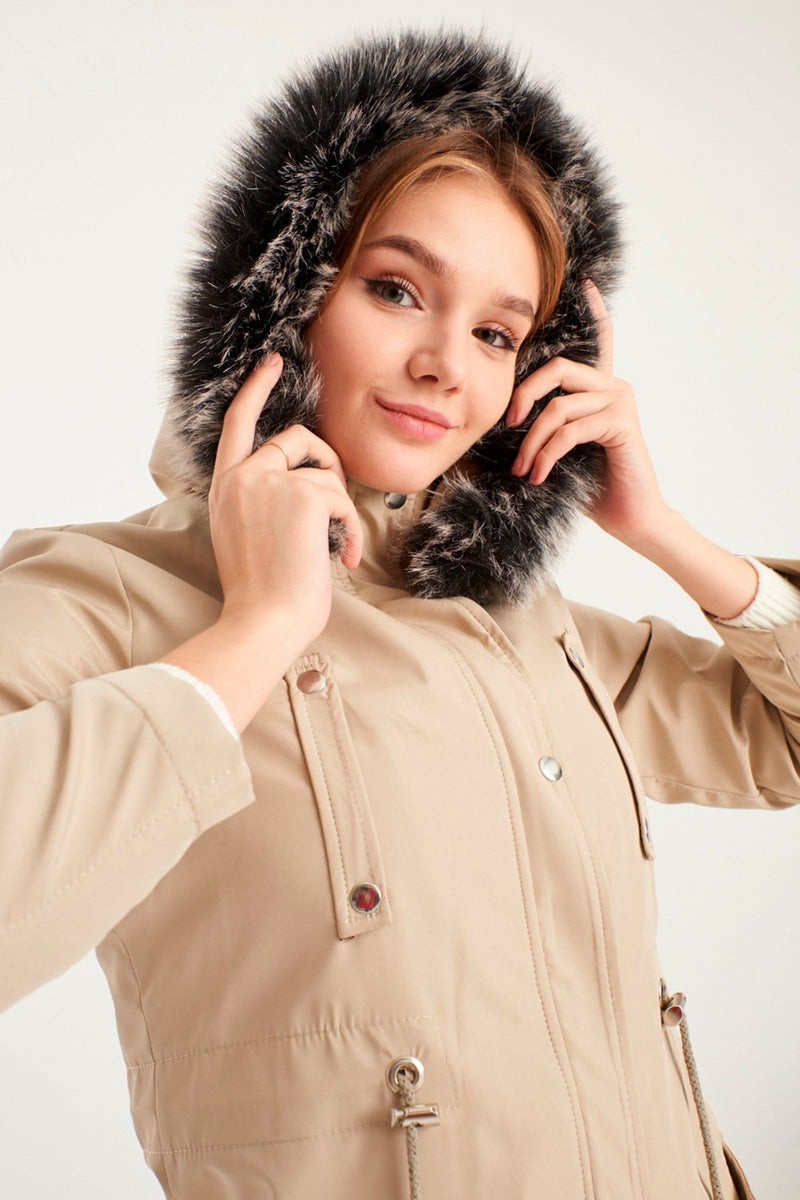 Hooded Inside Fur Coat Thick Winter New Season Women's Clothing